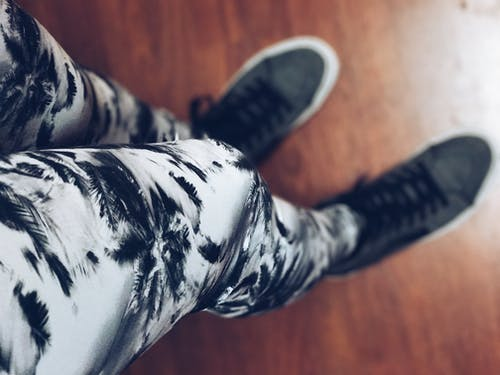 Focus Photography of Gray and Black Floral Pants