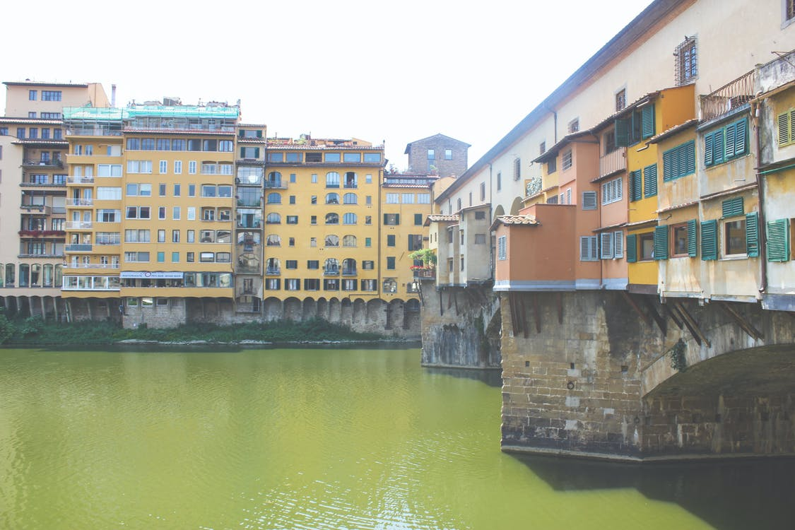 bridge, colorful houses, florence