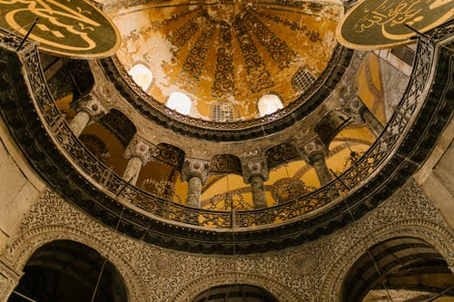 High dome of old mosque decorated with ornaments