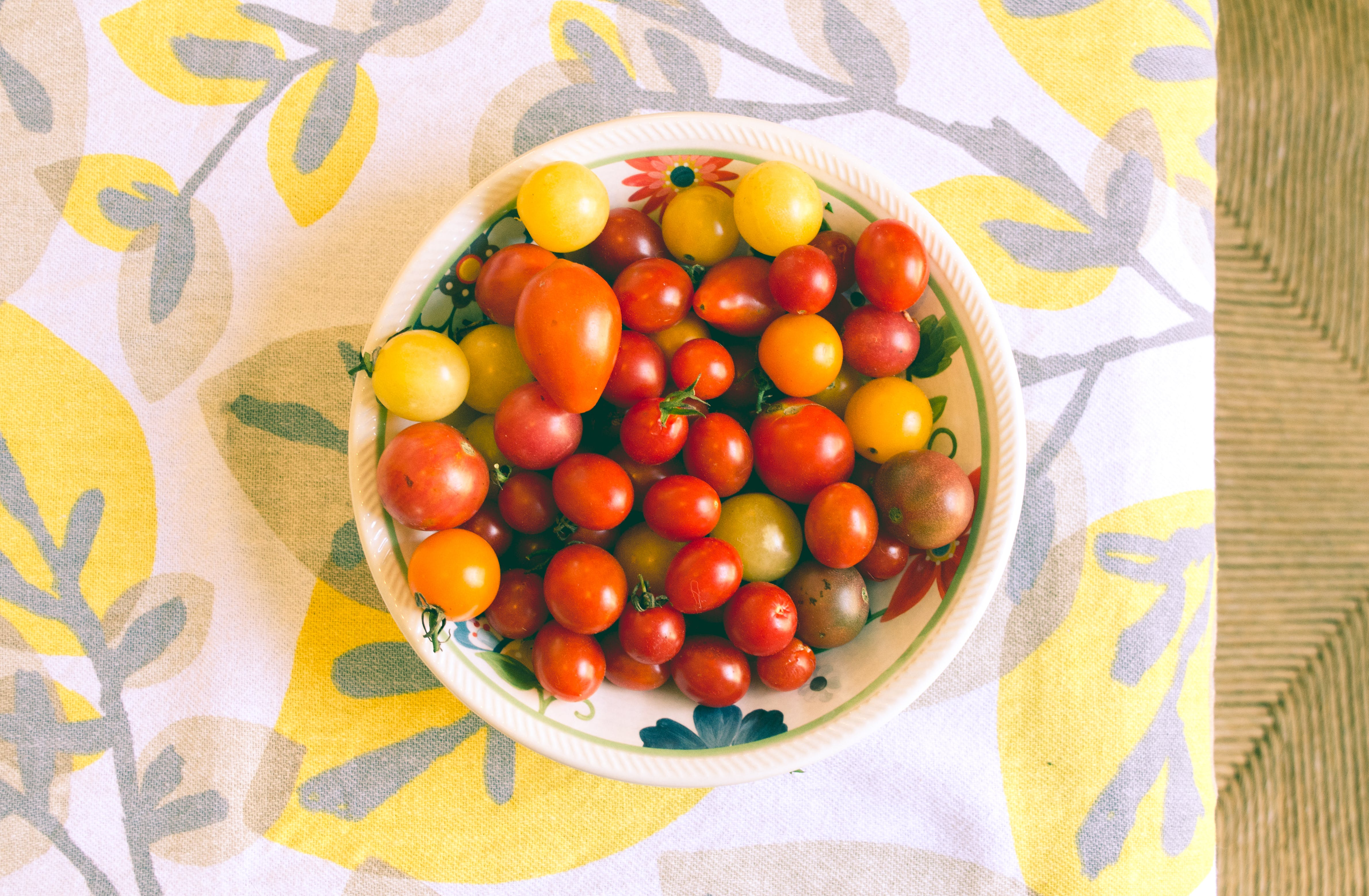 Bowl of Tomatoes on Textile