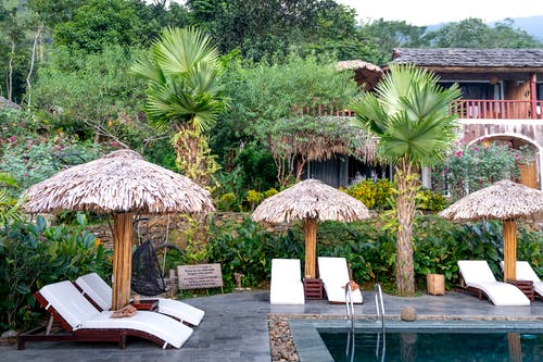 White loungers and thatched parasols placed near swimming pool on tropical terrace with exotic green plants and building in resort