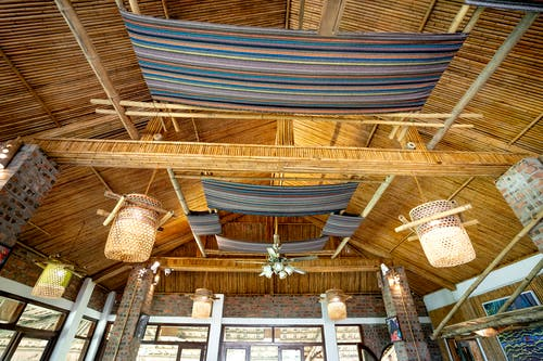 Interior of traditional cafe with wooden roof