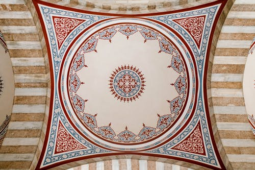 Ornamental ceiling with colorful oriental mural in mosque