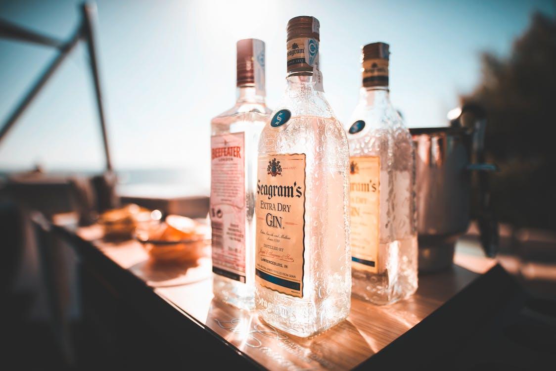 Three Glass Liquor Bottles