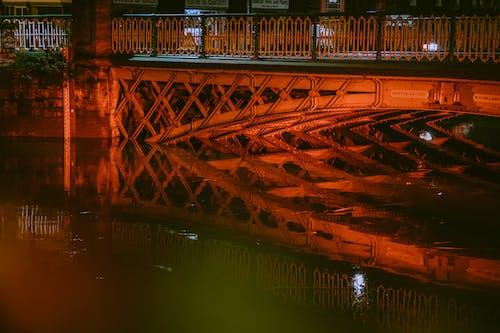 Red Metal Bridge over River