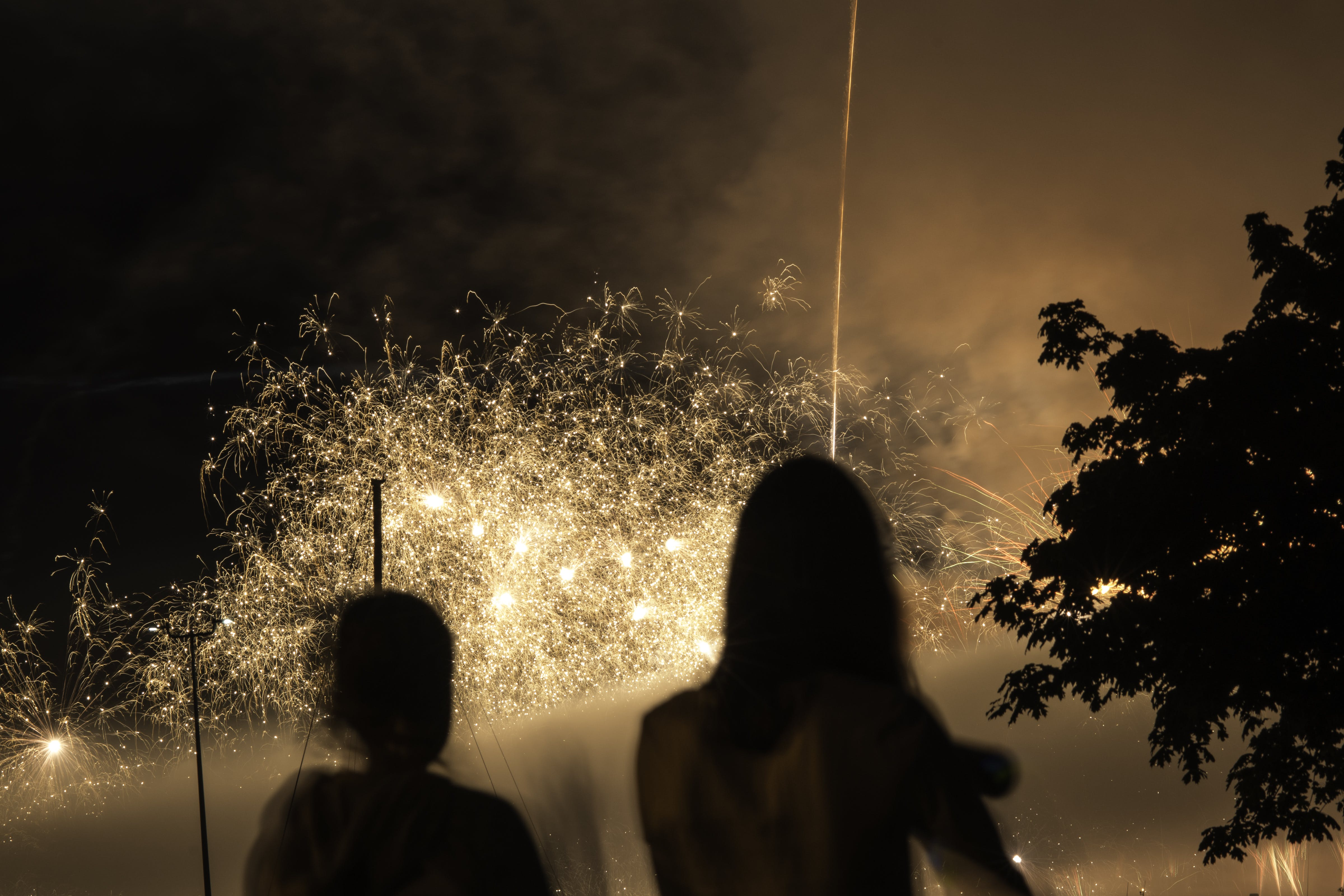 Free stock photo of fireworks, silhouette