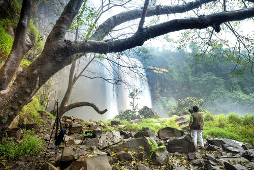 Unrecognizable tourist enjoying waterfall in forest