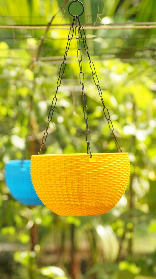 A Colorful Basket Hung by Chains