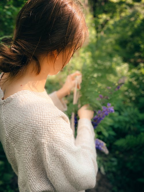 Crop woman collecting lilac flowers in summer garden