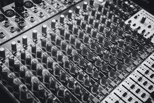 Black and White Audio Mixer