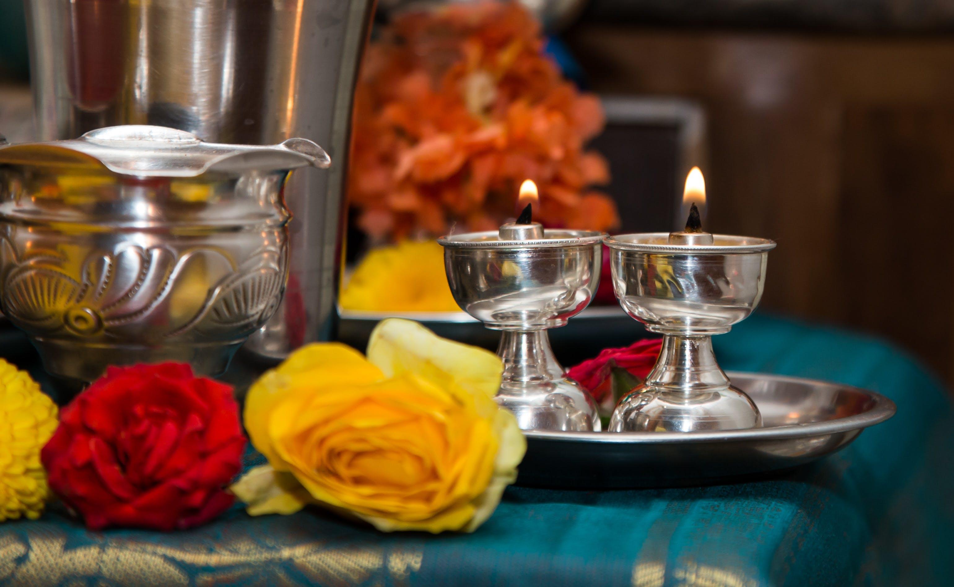 Free stock photo of devotion, flower, hinduism, light