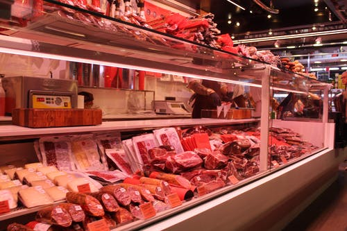 Meat Section Inside a Supermarket