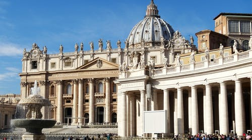 Beige Historical Buildings on St. Peter's Square in Vatican