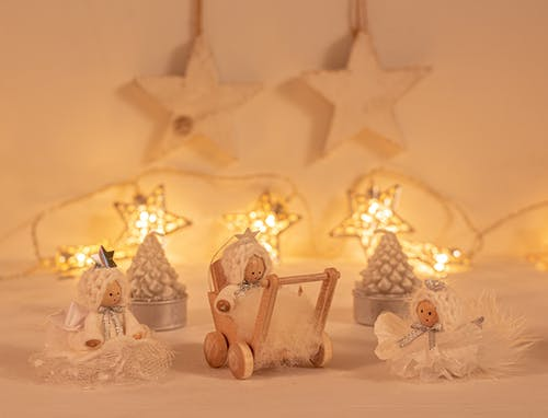 Gold and White Christmas Tree Decors