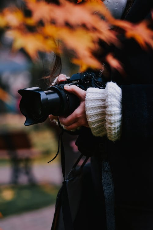 Crop photographer with camera in autumn