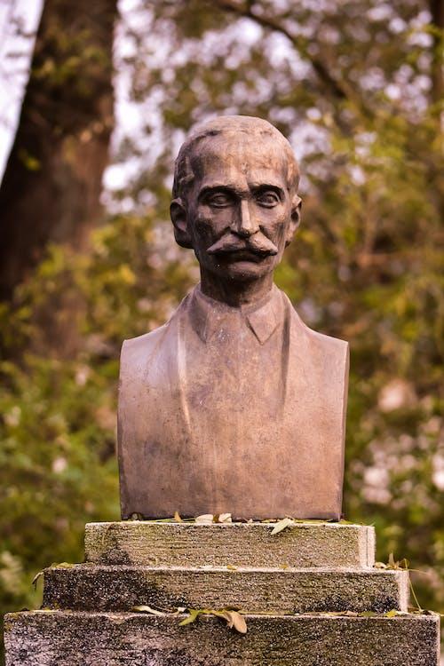 Stone bust sculpture of man