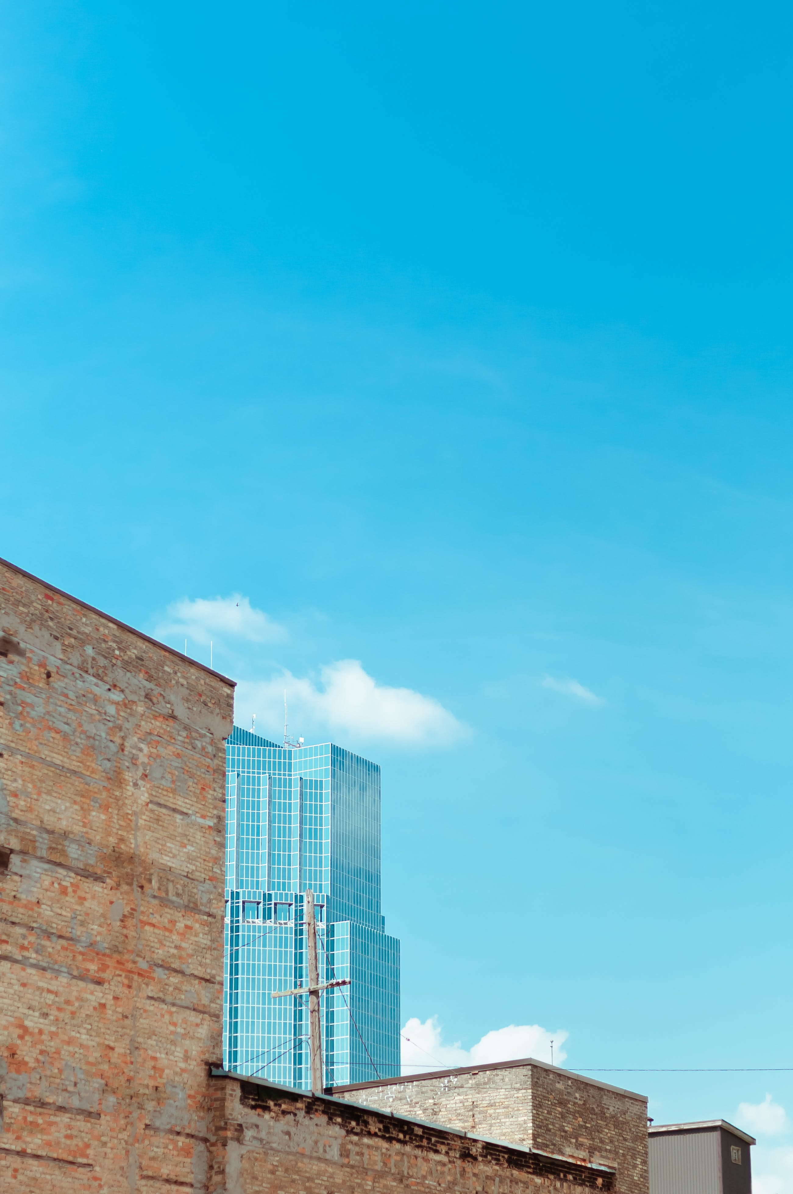 Free stock photo of architectural, architecture, blue sky, brick