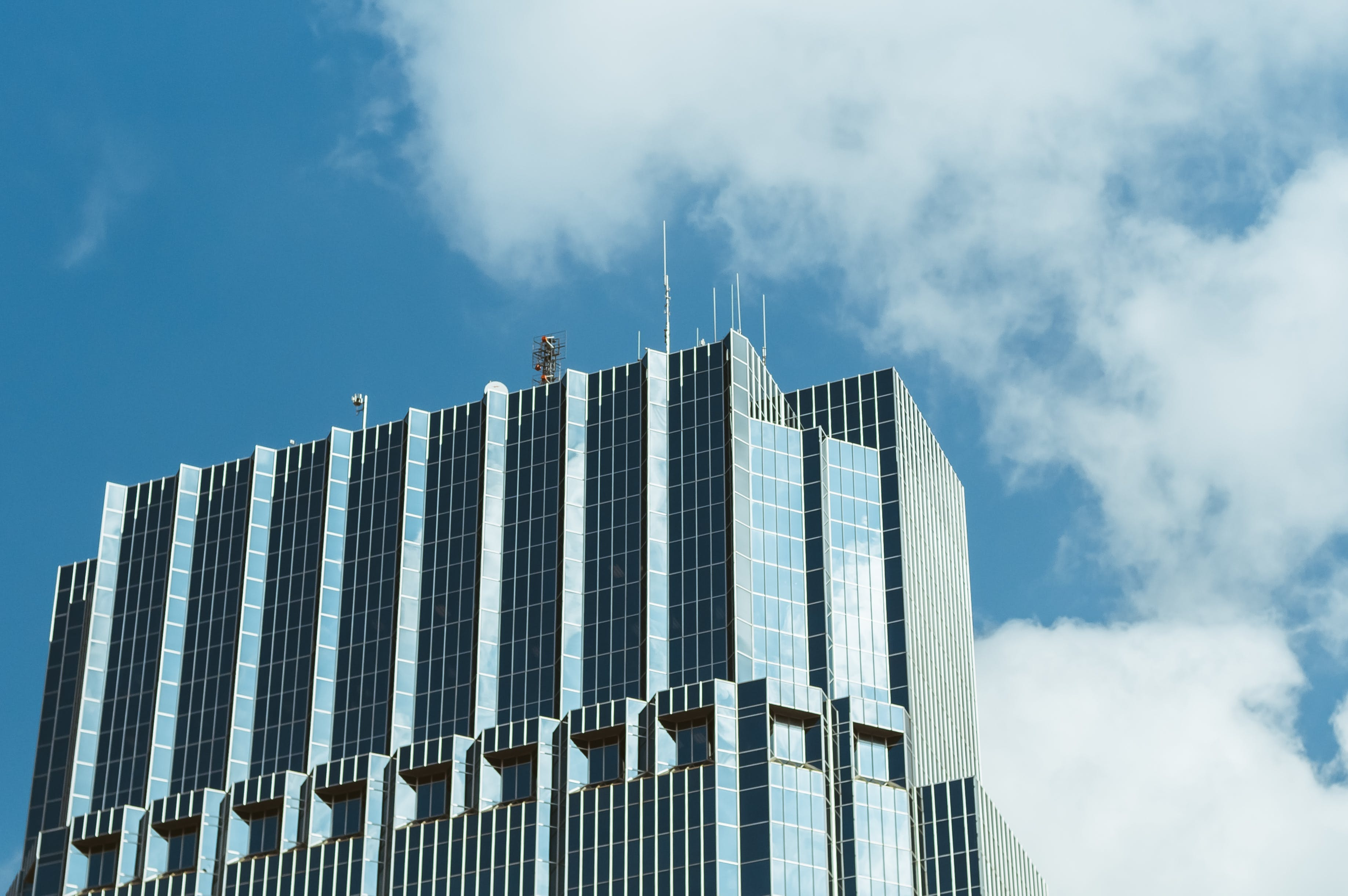 Blue and Gray Curtain Wall Building