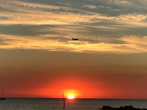 Free stock photo of jet, sunset