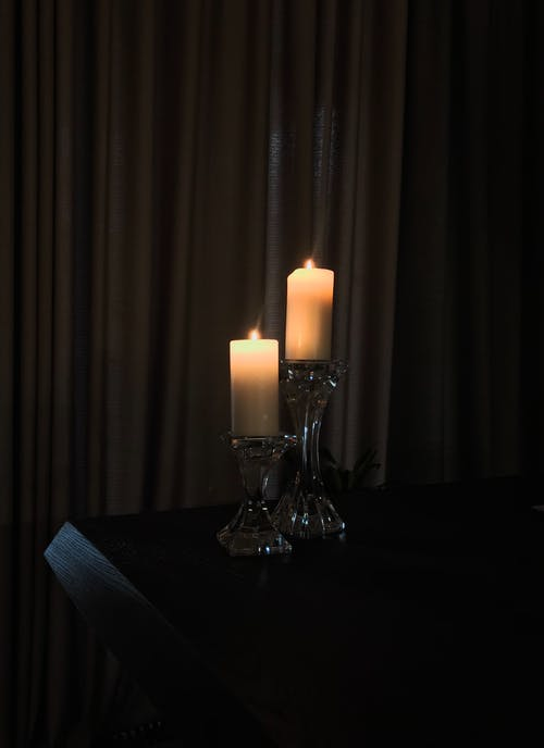 Lighted Candles on Candle Holders