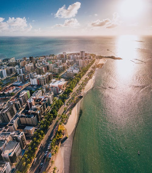 An Aerial Shot of a Coastal City