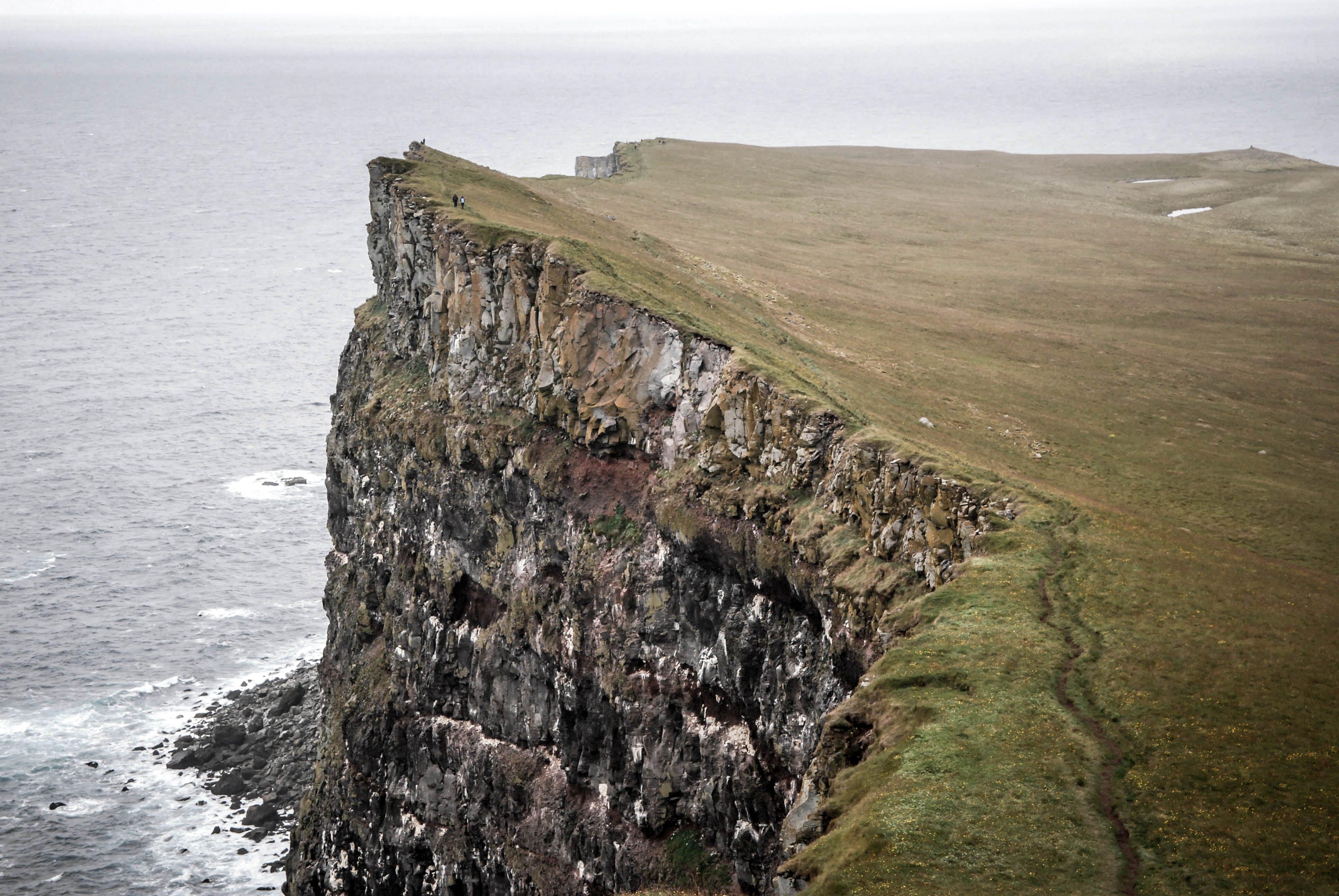 Gray and Green Cliff Near Sea