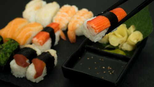 Sushi on Black Rectangular Tray