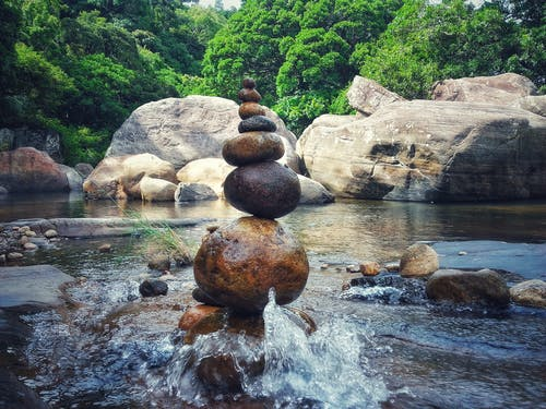 Free stock photo of forest, landscape, rock balancing, stone