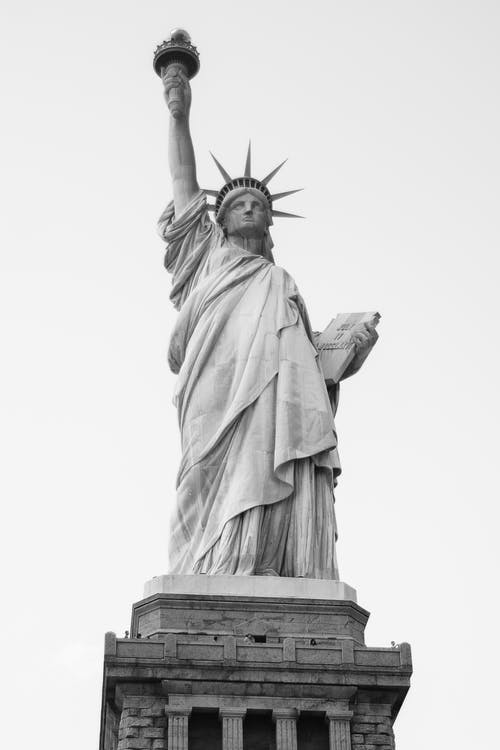 A Grayscale of the Statue of Liberty