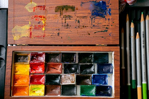 Brown Wooden Frame With Abstract Painting