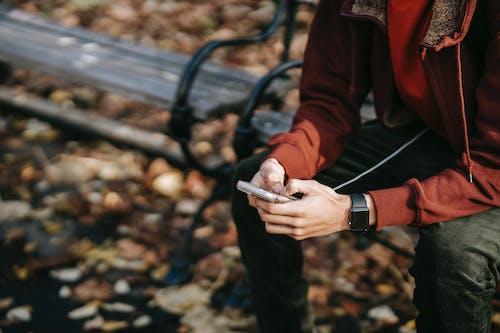 Crop man browsing smartphone on bench