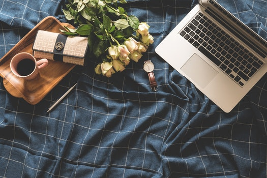 Free stock photo of coffee, flowers, blue, laptop