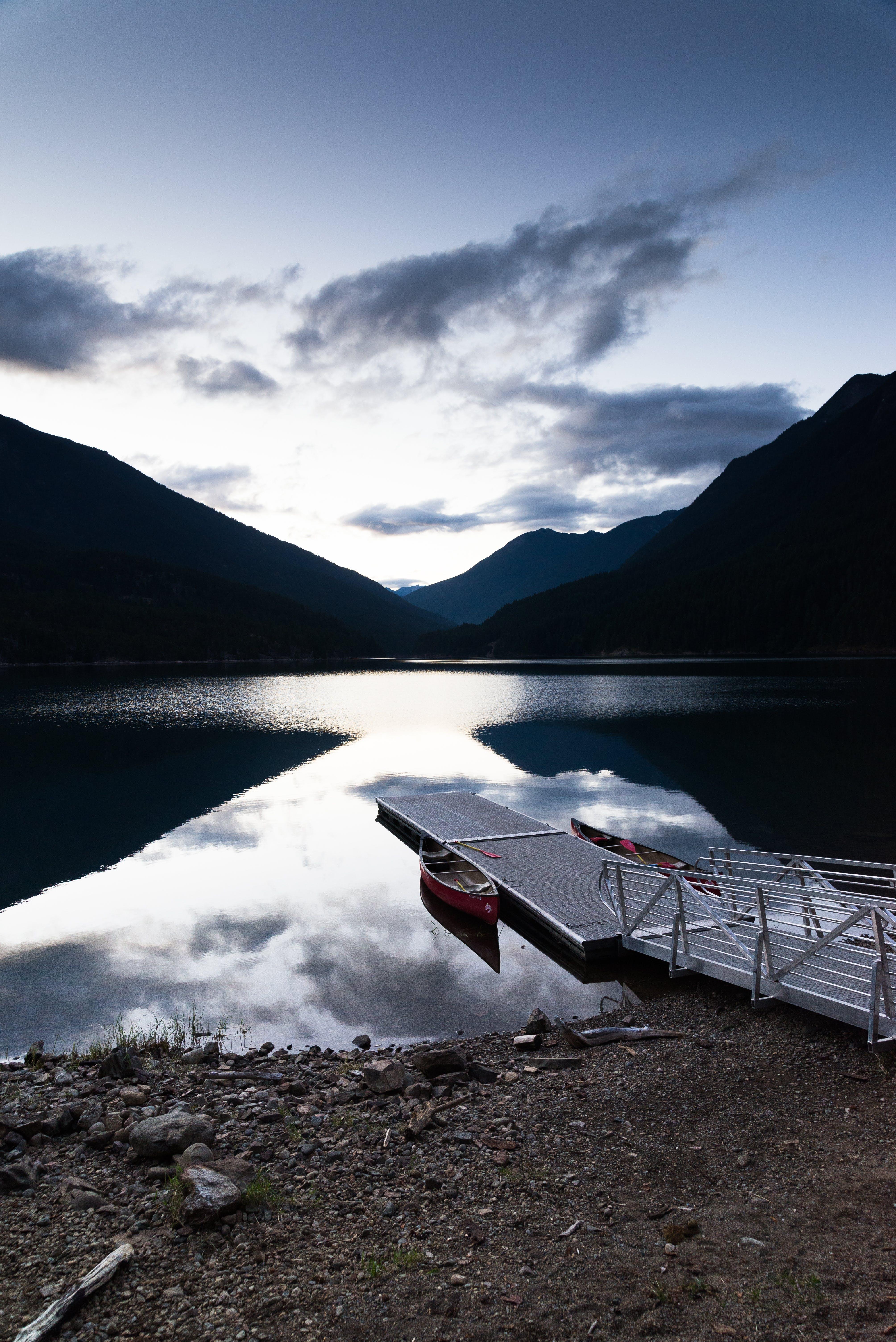 Free stock photo of lake, dock, canoe