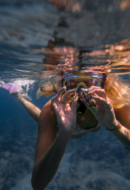 Unrecognizable woman in swimwear and snorkeling mask with flippers showing seashells while swimming underwater near reef in clear blue sea