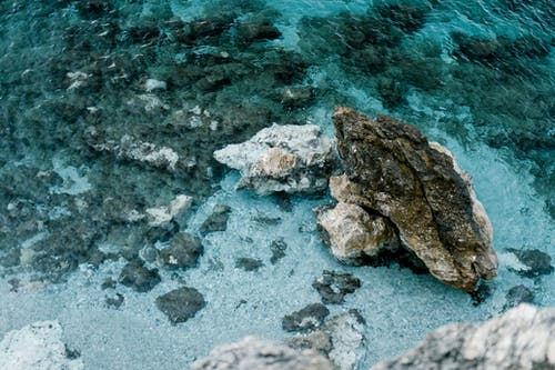 Rocks and clear rippled ocean water