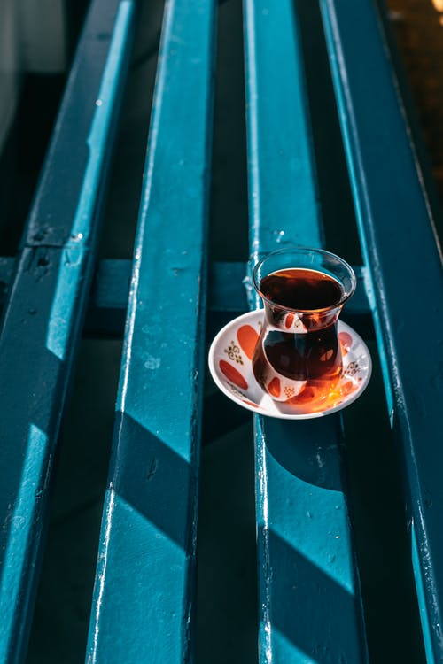 Glass of tea on street