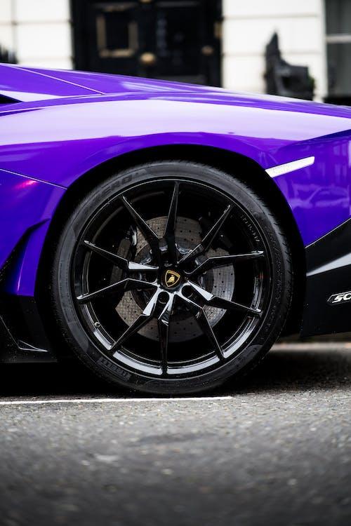 Purple Car With Black Wheel