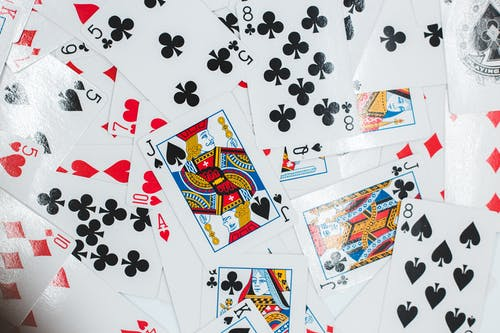Scattered pile of playing cards