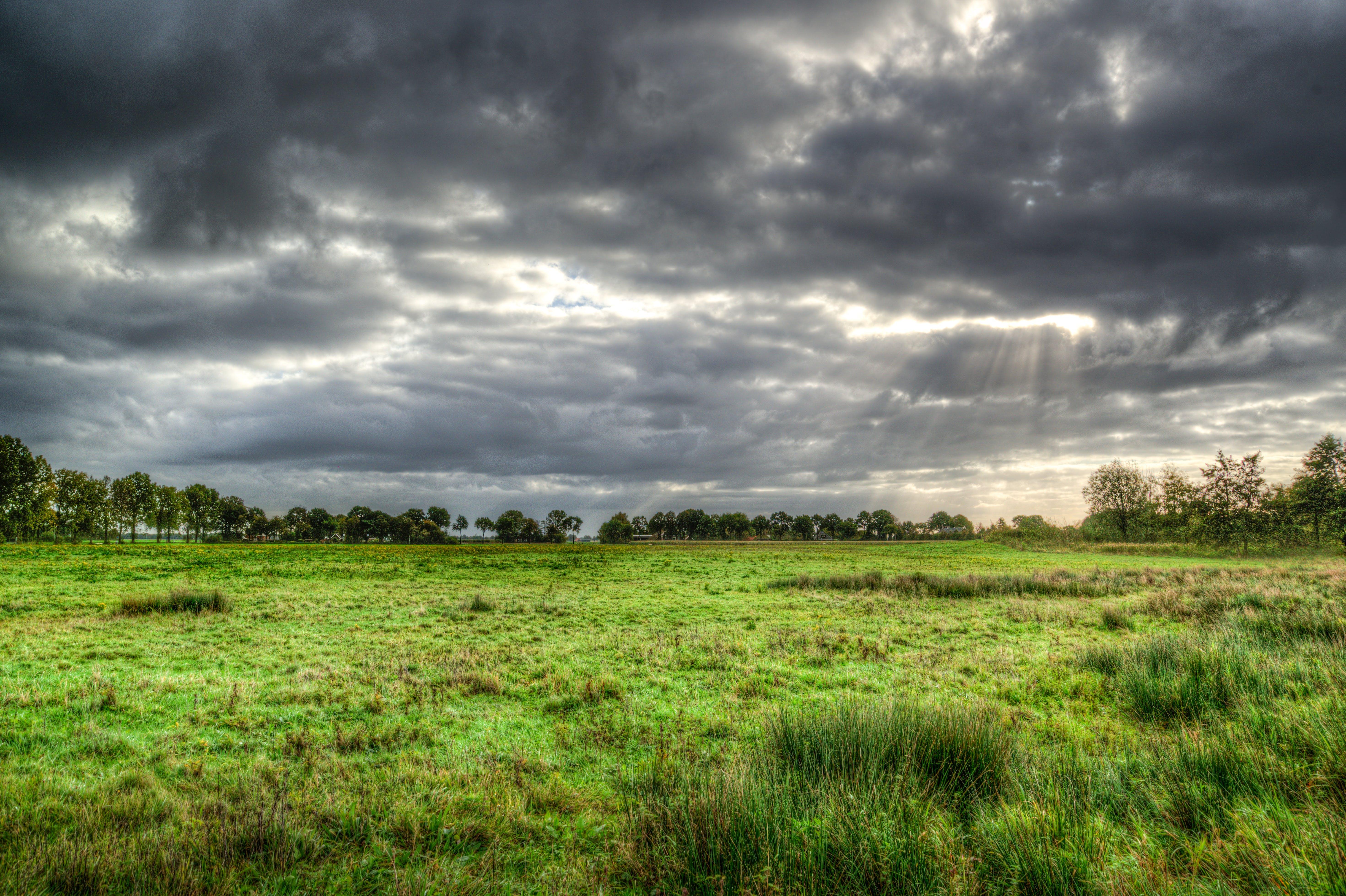 Green Grass Field Under Cloud Formation