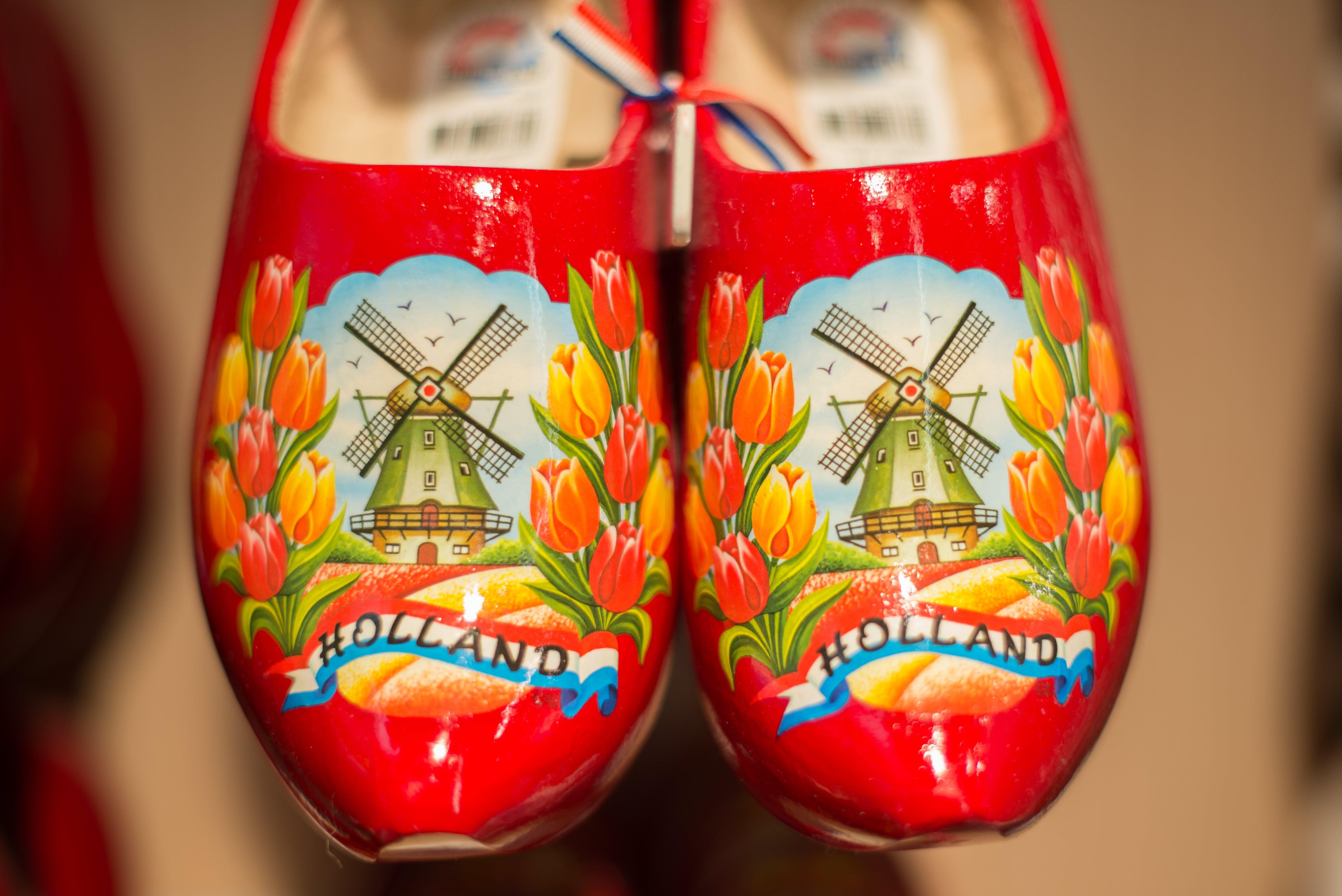 Pair of Red Ceramic Shoes