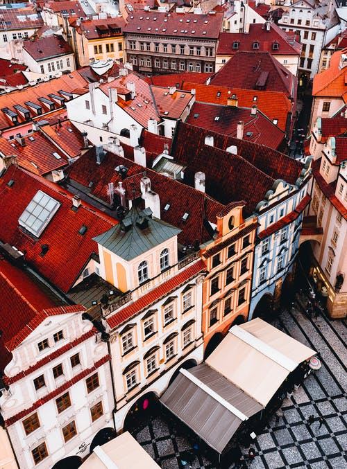 Roofs of classic buildings in city