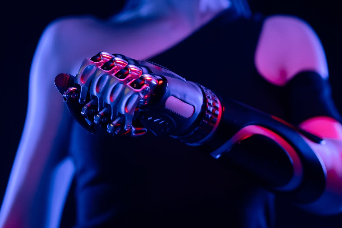 Black and Red Microphone With Blue Light