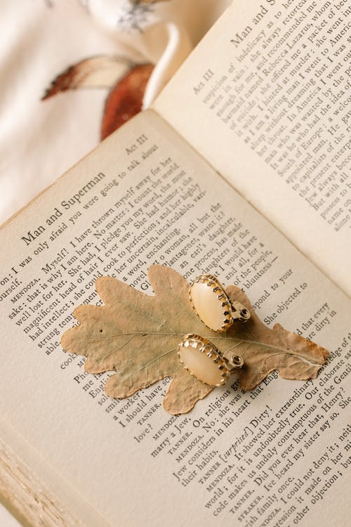 Gold Heart Pendant on Book Page