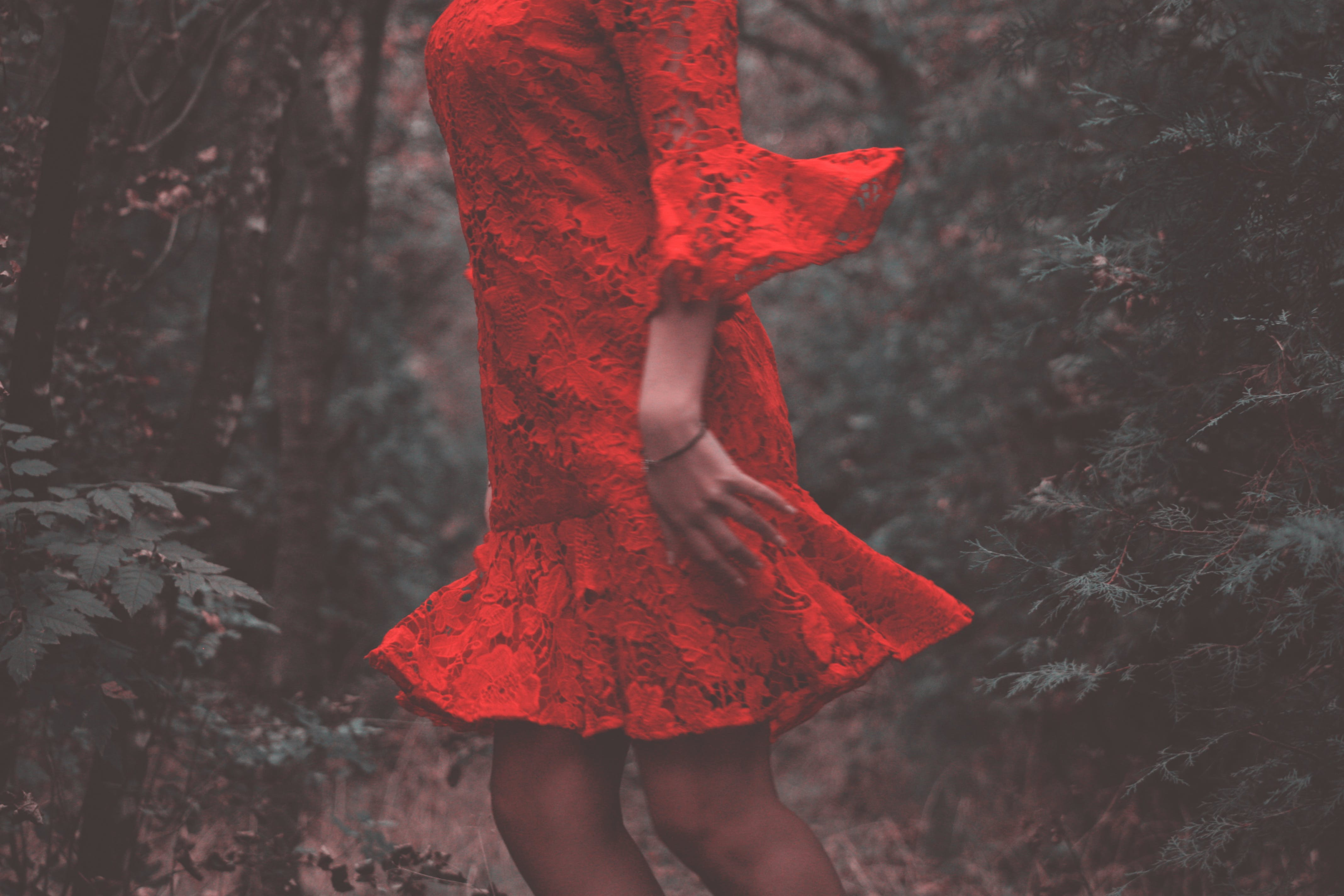 Woman Wearing Red Floral Long-sleeved Dress