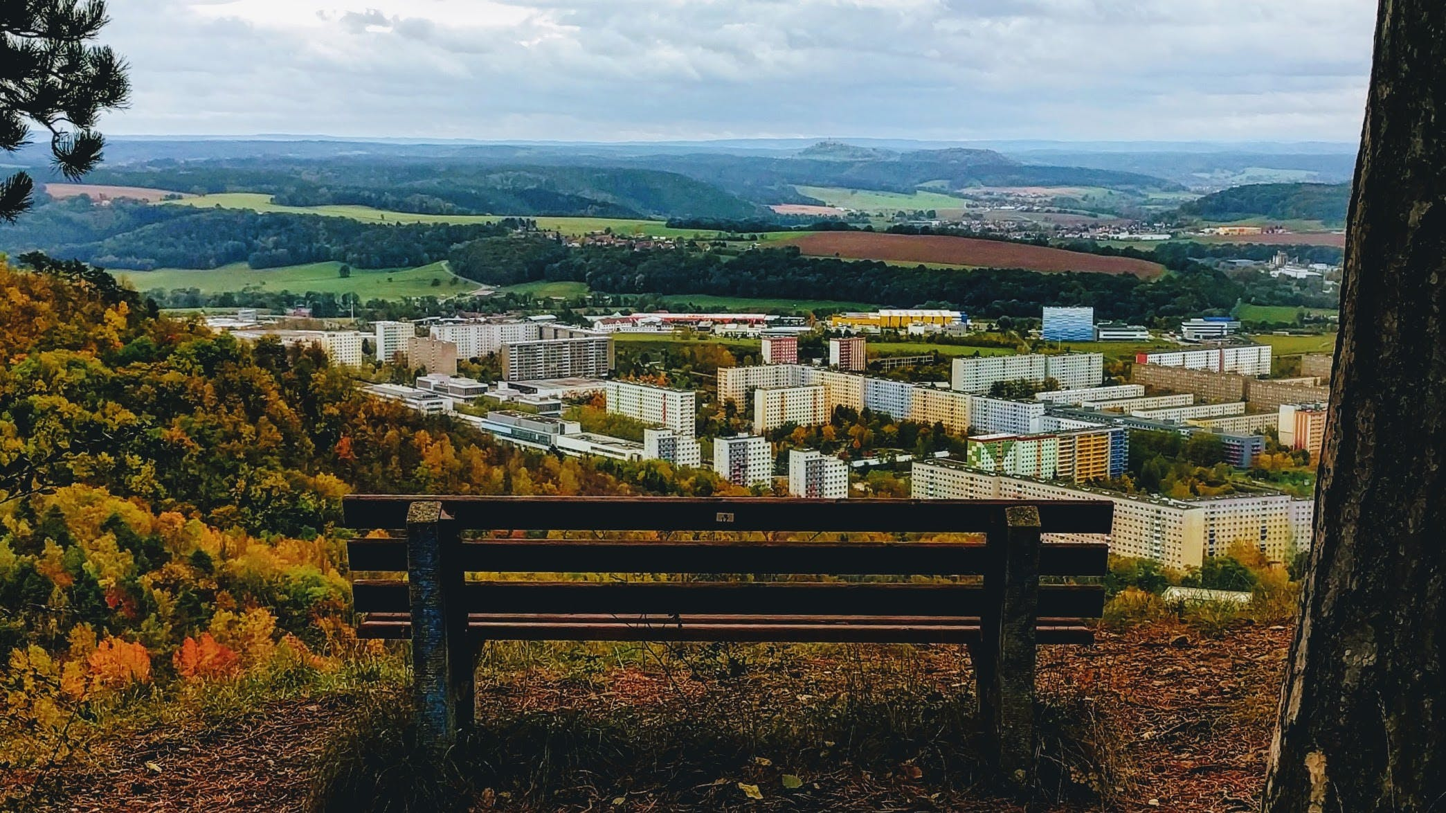 Free stock photo of bench, city, buildings, hill