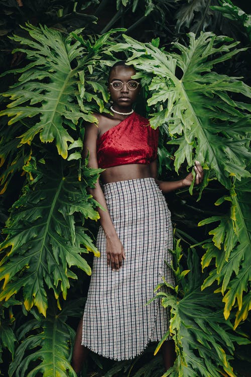 Woman in Red Brassiere and Black and White Checked Skirt Standing Beside Green Plant