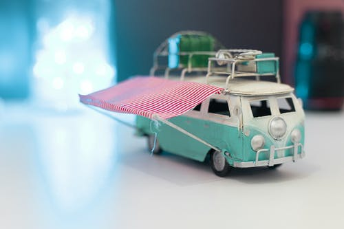 Free stock photo of automobile, baggage, blue, campervan