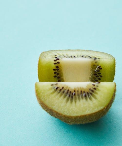 Sliced half of fresh ripe juicy kiwi