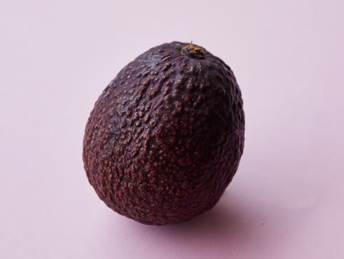 Closeup of ripe big unpeeled whole brown avocado tree fruit on purple background