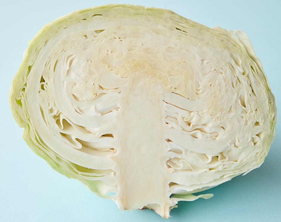 Half of fresh juicy cabbage on blue surface